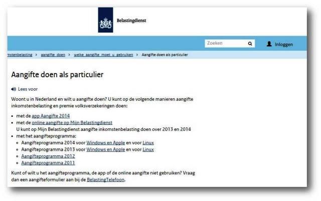 Téléchargez le programme du belastingdienst pour remplir votre déclaration de revenus aux Pays-Bas
