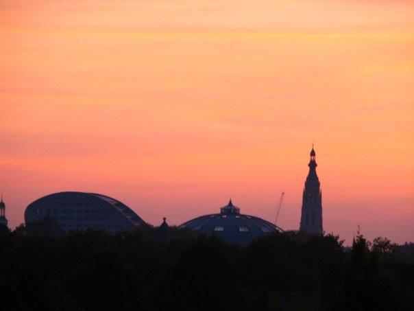 Breda coucher de soleil sur le centre ville