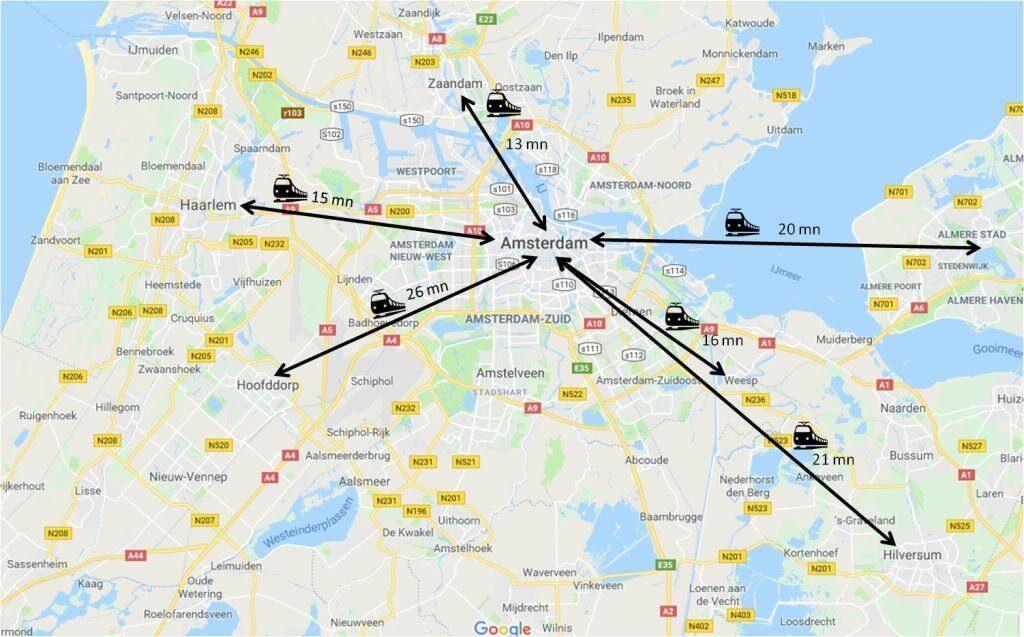 Temps de trajet en train entre Amsterdam et les villes voisines