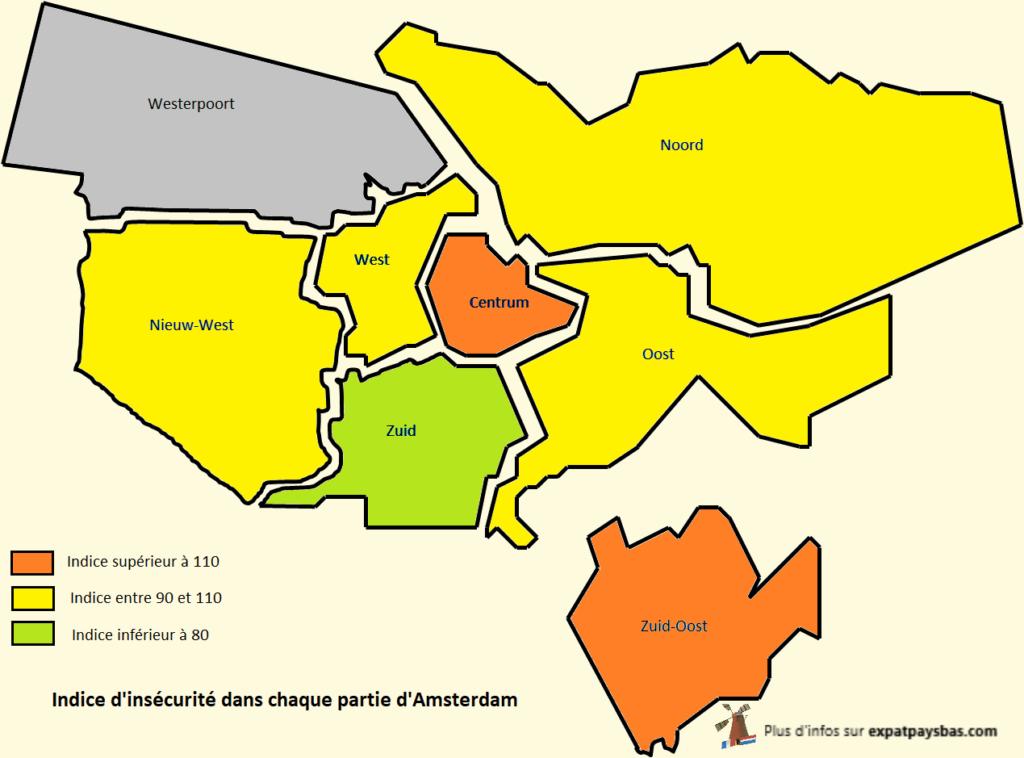Carte quartiers Amsterdam insécurité
