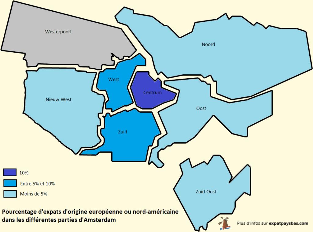 Carte quartiers Amsterdam pourcentage expats