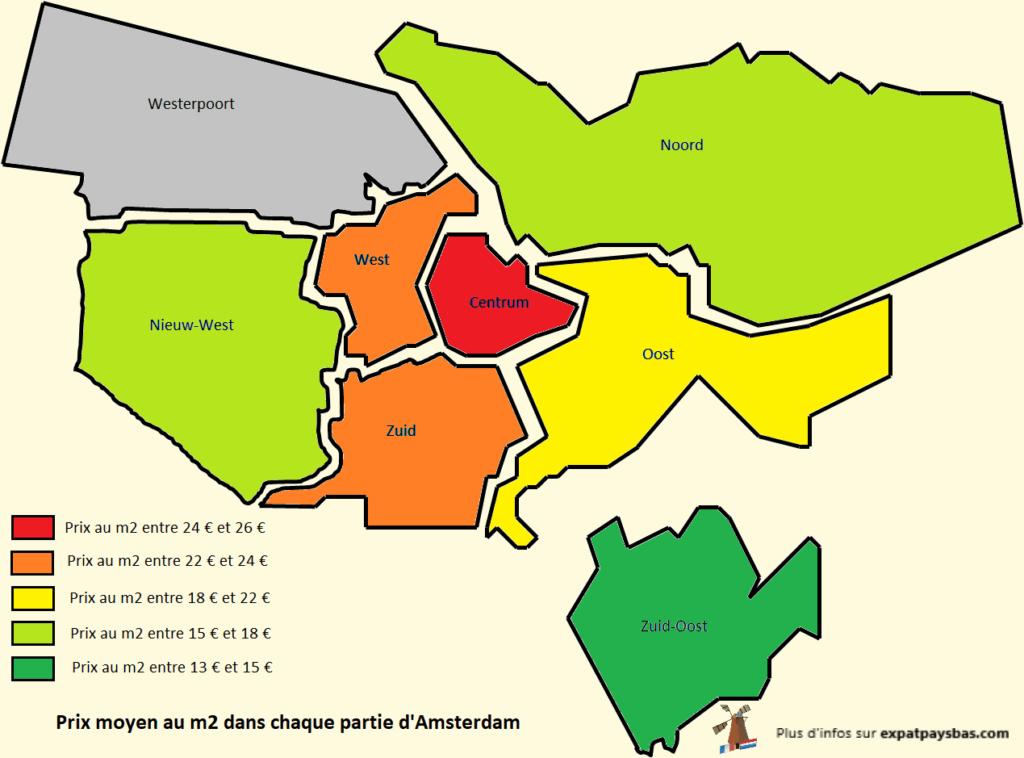 Carte quartiers Amsterdam prix m2 logement
