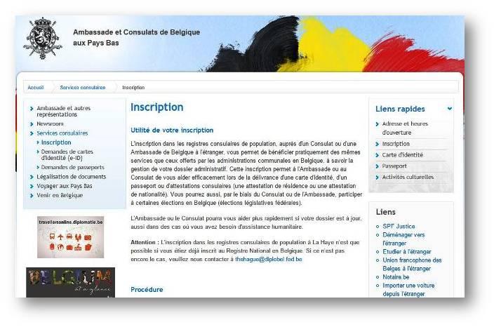Site du consulat de Belgique aux Pays-Bas pour votre inscription aux registres consulaires