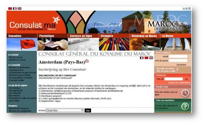 Site du Consulat du Maroc aux Pays-Bas pour votre inscription au district consulaire d'Amsterdam