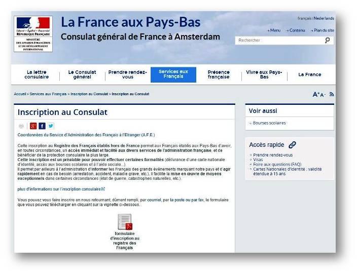 Site Internet du Consulat de France aux Pays-Bas