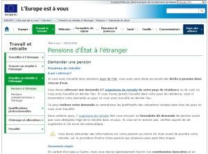 Europe est à vous. site d'informations sur vos droits à la retraite entre pays de l'UE