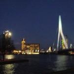 Rotterdam vue sur le Pont Erasme la nuit
