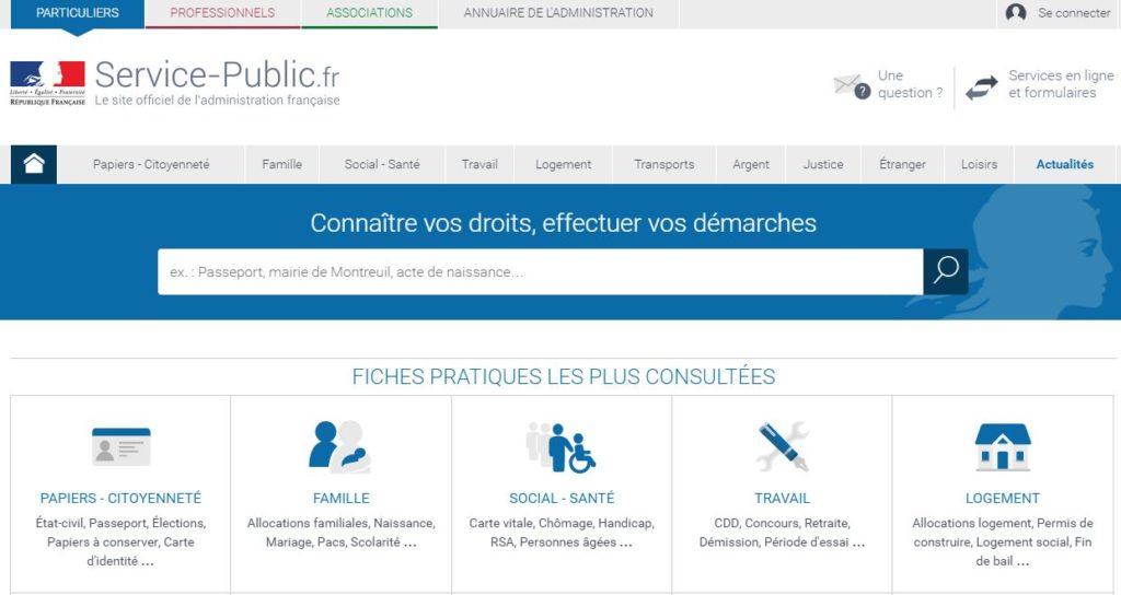 Service Public.Fr, le site officiel de l'administration française